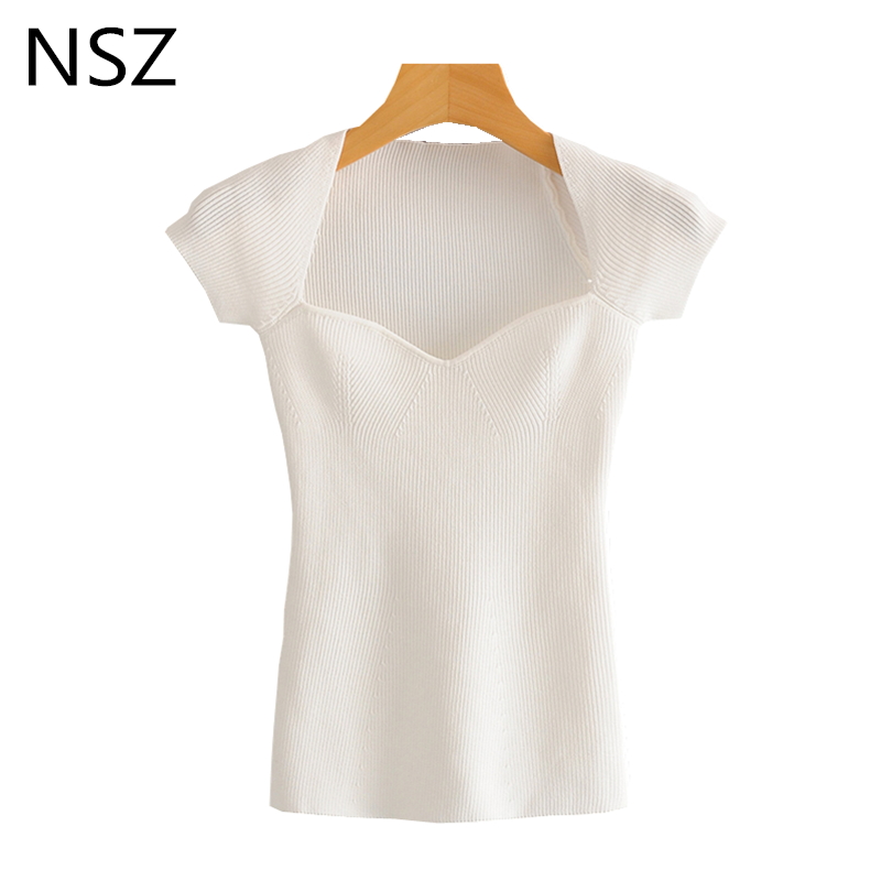 Nsz Vrouwen Off Shoulder Geribbelde Top Zomer Gebreide T-shirt Korte Mouw Sexy Crop Top T-shirt Truien Shirt Slash Hals tight Tee