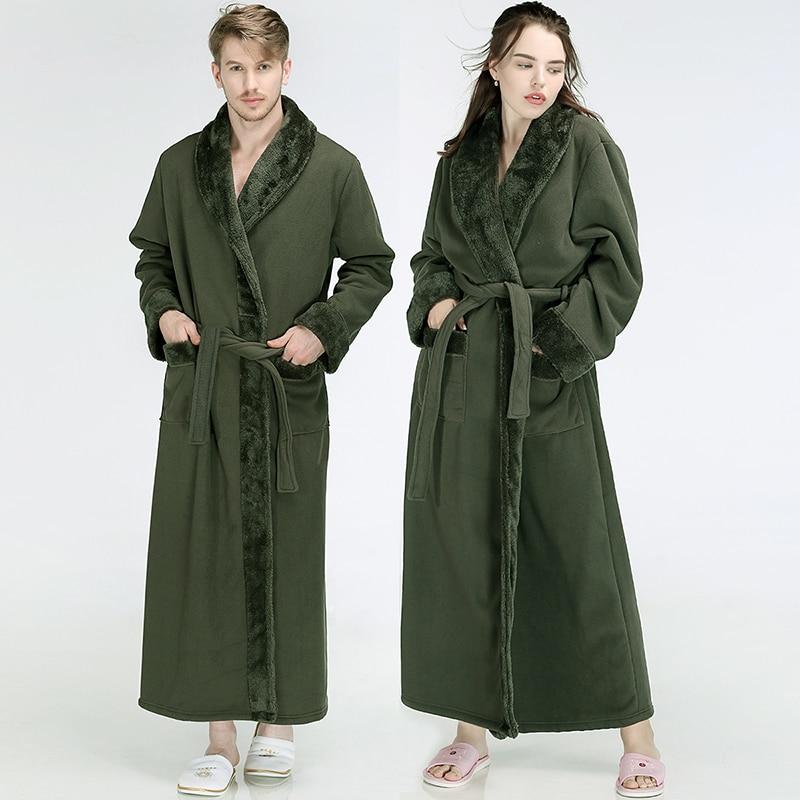 Men Women Winter Extra Long Flannel Fur Warm Bathrobe Luxury Thick Fleece Bath Robe Mens Soft Thermal Dressing Gown Male Robes