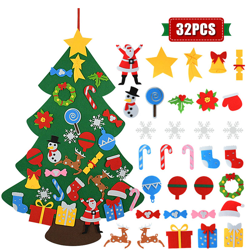 Kids DIY Felt Christmas Tree Christmas Decoration for Home Navidad 2021 New Year Gifts Christmas Ornaments Santa Claus Xmas Tree