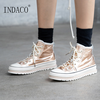 Women Sneakers 2019 Fashion Woman Shoes Sneakers High Top Leather 4cm