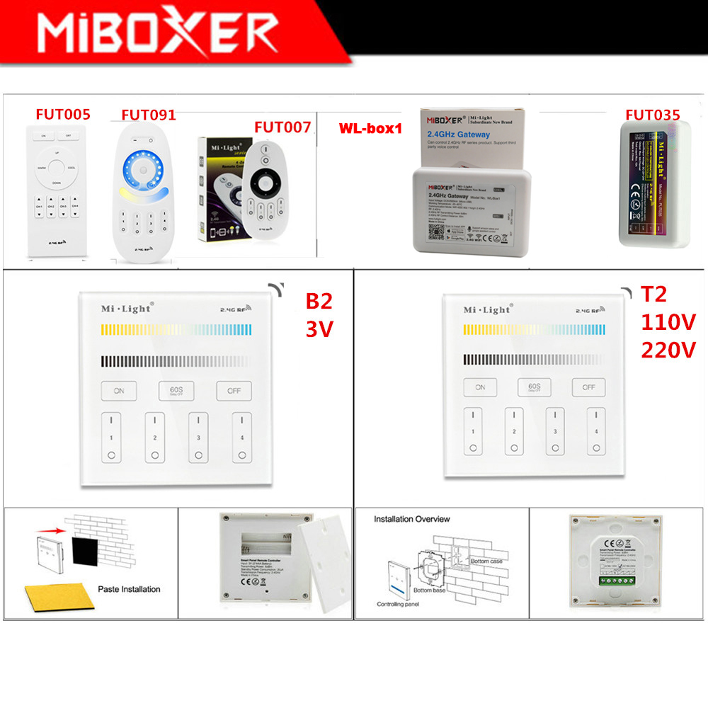 Miboxer FUT035 led strip Light Controller B2/T2 2.4G 4-Zone Brightness Smart Panel Remote WL-Box1 2.4GHz Gateway image