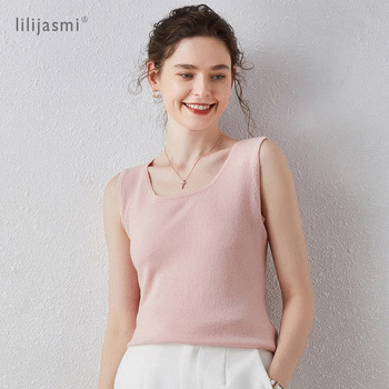 2020 New Camisole Pure Cashmere Tank Tops U-line Crewneck Straps Women Knitting Cami Knitted Sleeveless Knitwear Vest Autumn