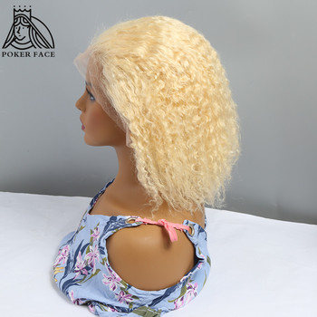 Poker Face 613 Honey Blonde Curly 13x4 Lace Front Human Hair Short Bob Wig Pre Plucked Brazilian Lace Frontal Wig for Women image
