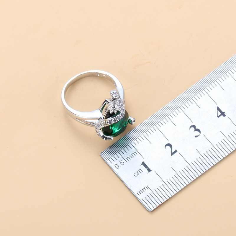 קסום מים זרוק ירוק מעוקב Zirconia 925 כסף תכשיטי סטי עגילים/שרשרת/תליון/טבעת לנשים אבזרים