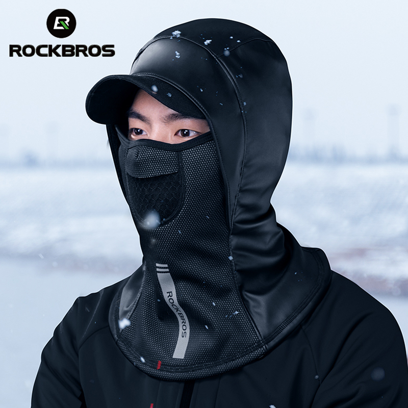 ROCKBROS Winter Thermal Fleece Ski Mask Snowboard Hood Full Face Cover Scarfs Outdoor Balaclava Windproof Cycling Headgear