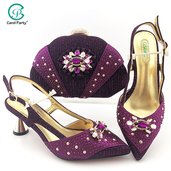 2020 New Lady Shoes and Bag To Match Italian design Women Shoe and Bag To Match for Parties African Shoes and Bag Set in Purple