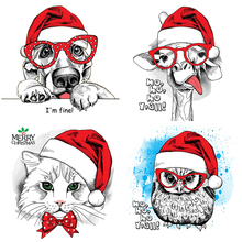AZSG Lovely Christmas Animals Owl Cat Cutting Dies Clear Stamps For Scrapbooking DIY Clip Art / Album Decoration  Crafts