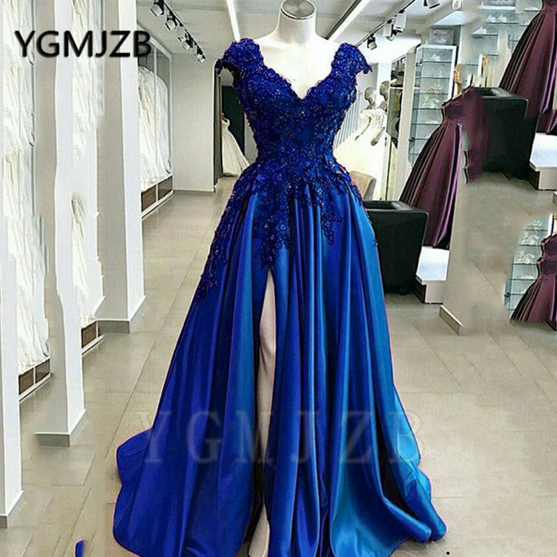 Sexy Purple Beaded Lace Prom Dresses 2020 A line V Neck Cap Sleeve High Slit Formal Royal Blue Evening Gowns Party Dress - 2