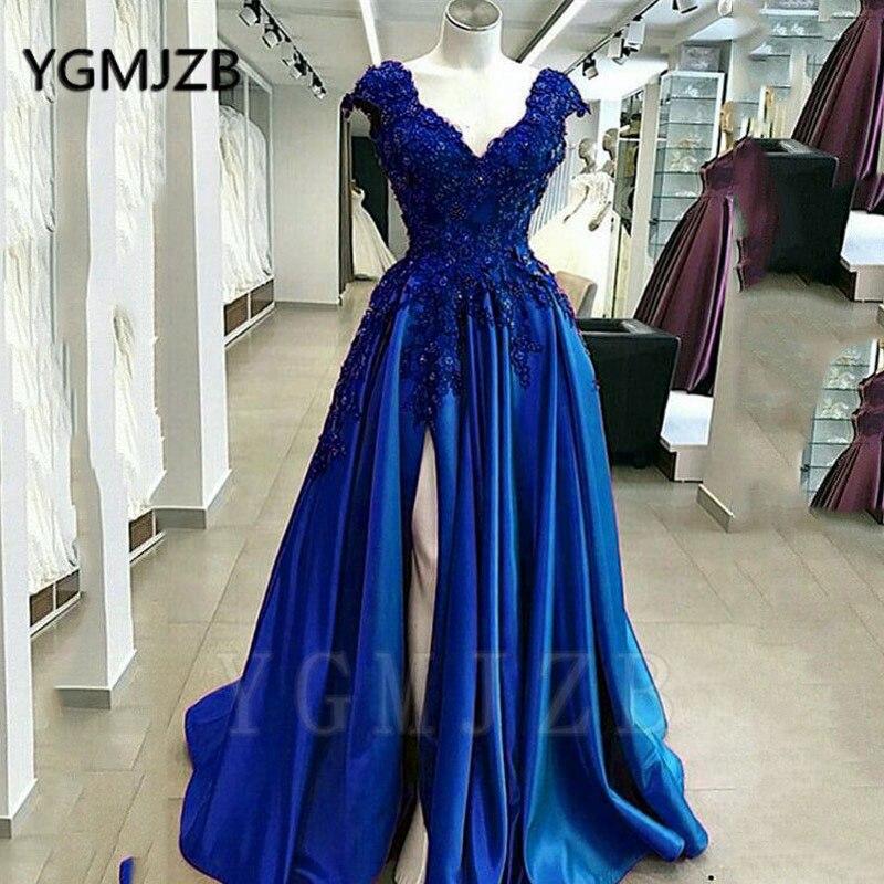 Sexy púrpura con cuentas de encaje vestidos de graduación 2020 una línea de cuello en V manga de tapa de alta hendidura Formal vestidos de noche azules vestido de fiesta - 2