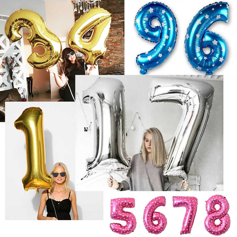 Number Foil Balloons 16 30 40 inch Gold Silver Pink blue Baby Shower Supplies Wedding Birthday Party Decoration Balloon