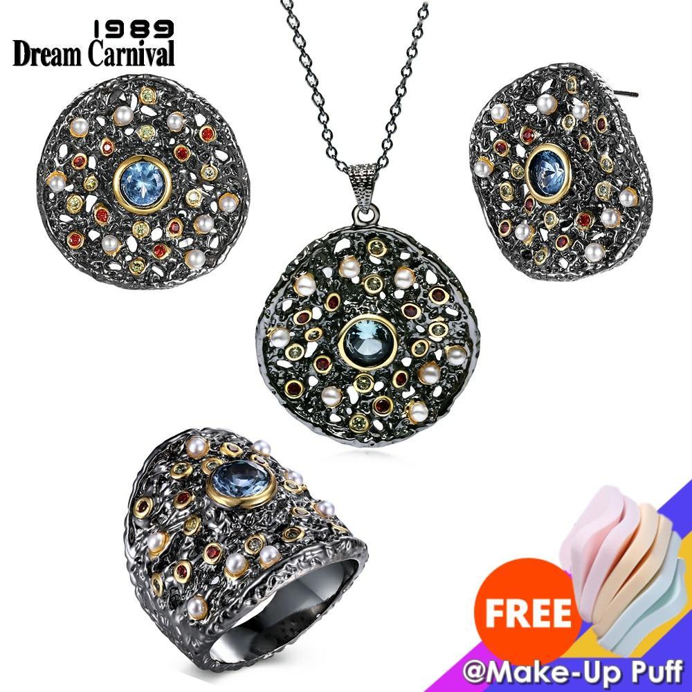 Dreamcarnaval 1989 exagéré femmes gothique ensemble de bijoux boucles doreilles anneau pendentif collier mélange cubique Zircon synthétique perle ERP6532S3Parures de bijoux   -