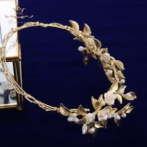 Image 4 - הבארוק כלה מצנפות כתרים אירופאי זהב הכלה Hairabnds Headpieces ריינסטון חתונת שיער אבזרים