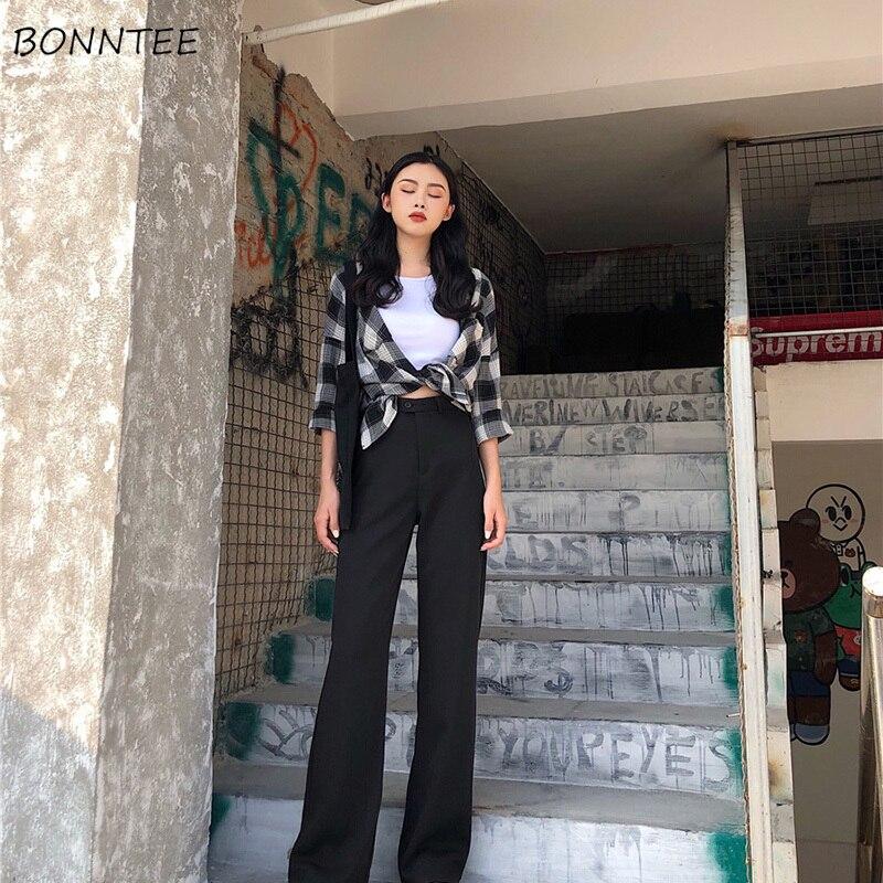 Pants Women Long Trousers Single Button Zipper High Leisure Solid Color Womens Simple Retro Elegant Korean Style Loose Trendy