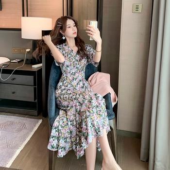 цена на New Summer Print Floral Dress Women V Neck Short Sleeves Chiffon Bohemian Dresses Beach Midi Female Long Dress