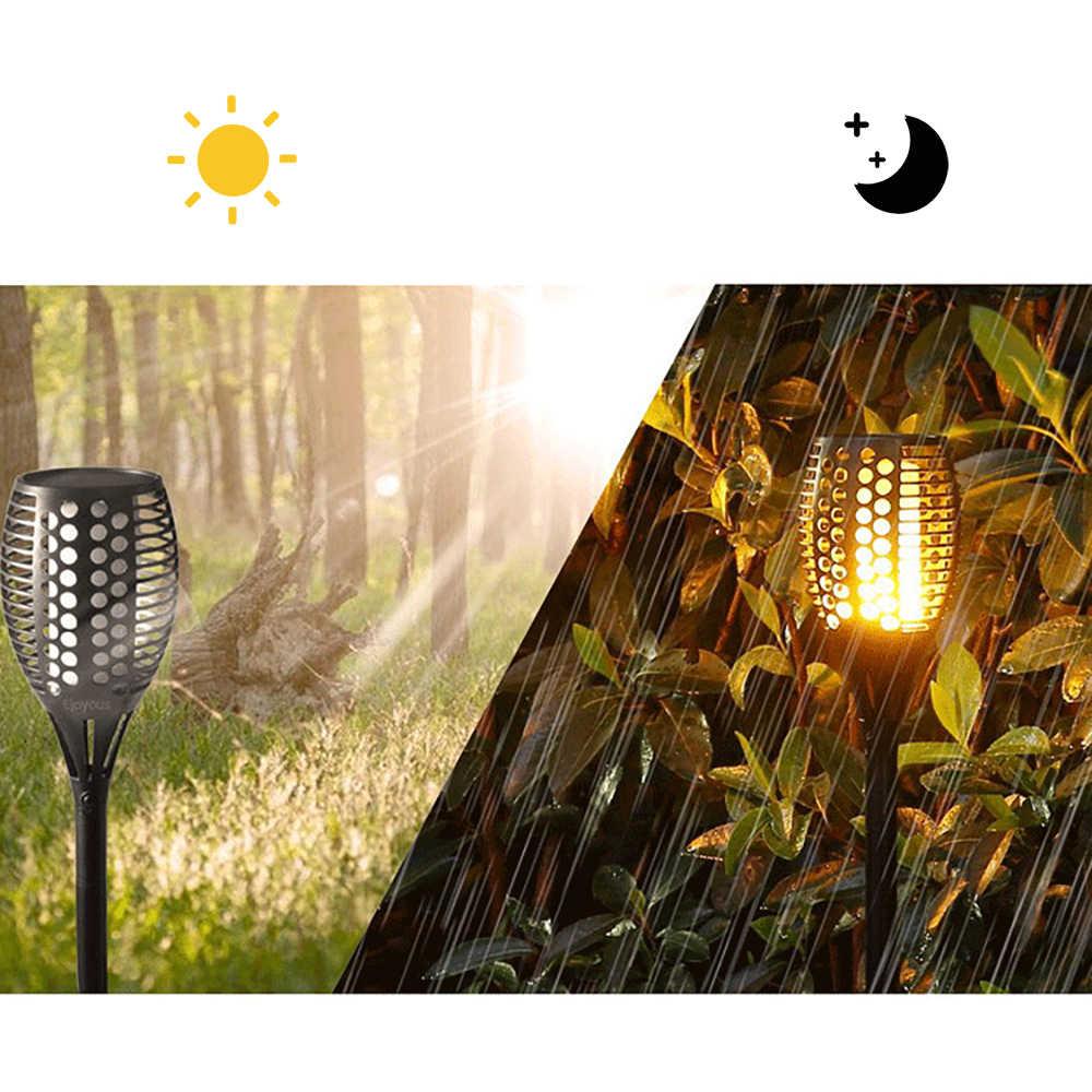 LEDพลังงานแสงอาทิตย์เปลวไฟกลางแจ้ง 12 Ledพลังงานแสงอาทิตย์ริบหรี่เปลวไฟไฟฉายโคมไฟสำหรับลานสวนระเบียง