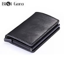 BISI GORO RFID męskie portfele na karty kredytowe Vintage czarne krótkie portfele 2020 nowe metalowe skórzane małe portfele na karty wąska torebka tanie tanio Short Wallets Small Card Wallet Thin Purse Stałe 0 8cminchinch 9 5cminchinch Poliester Unisex PU Leather + Aluminum Alloy