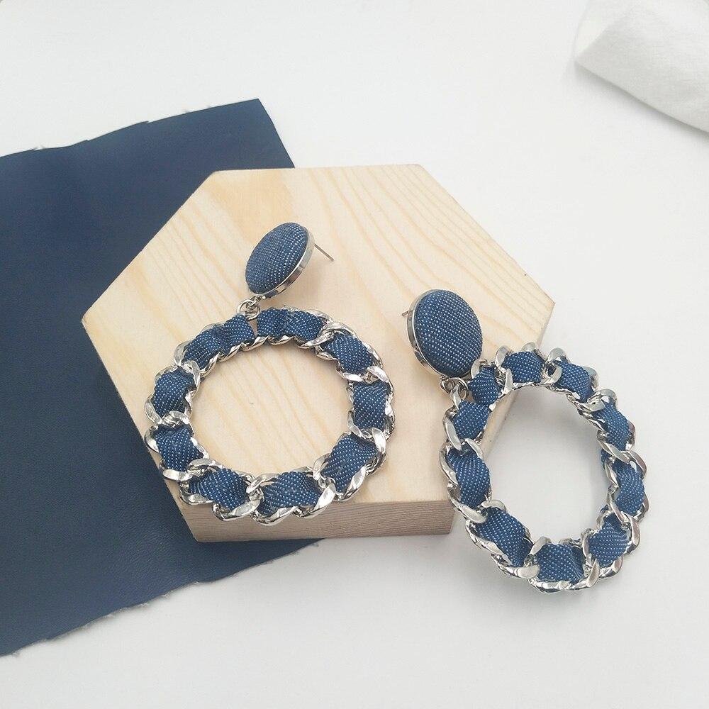 Style coréen torsadé Jean boucles doreilles personnalité à la main Denim Torsion chaîne dentelle grand cercle boucles doreilles boucle doreille femme