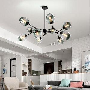 Image 1 - İskandinav cam küre çatı LED avize Modern avize tavan oturma odası yatak odası için Couture asılı lamba mutfak lambası parlaklık