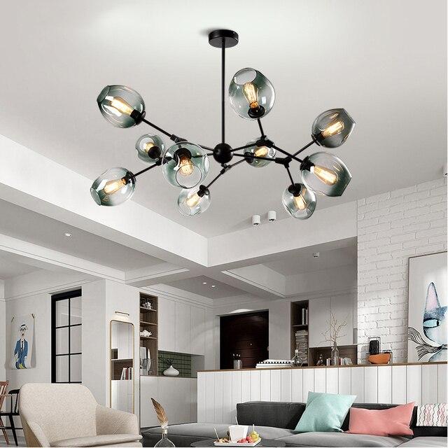 İskandinav cam küre çatı LED avize Modern avize tavan oturma odası yatak odası için Couture asılı lamba mutfak lambası parlaklık