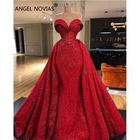ANGEL NOVIAS Long Mermaid Red Abendkleider Arabic Elegant Evening Dress 2019 Vestido Sirena Largo with Detachable Skirt