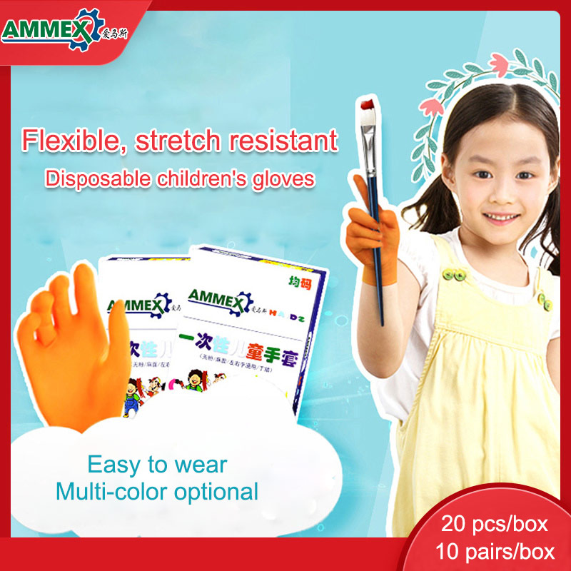AMMEX Children Kids Gloves Protective Safety 20pcs Disposable Nitrile Multipurpose Work Glove Non-Slip Painting Cleaning Home