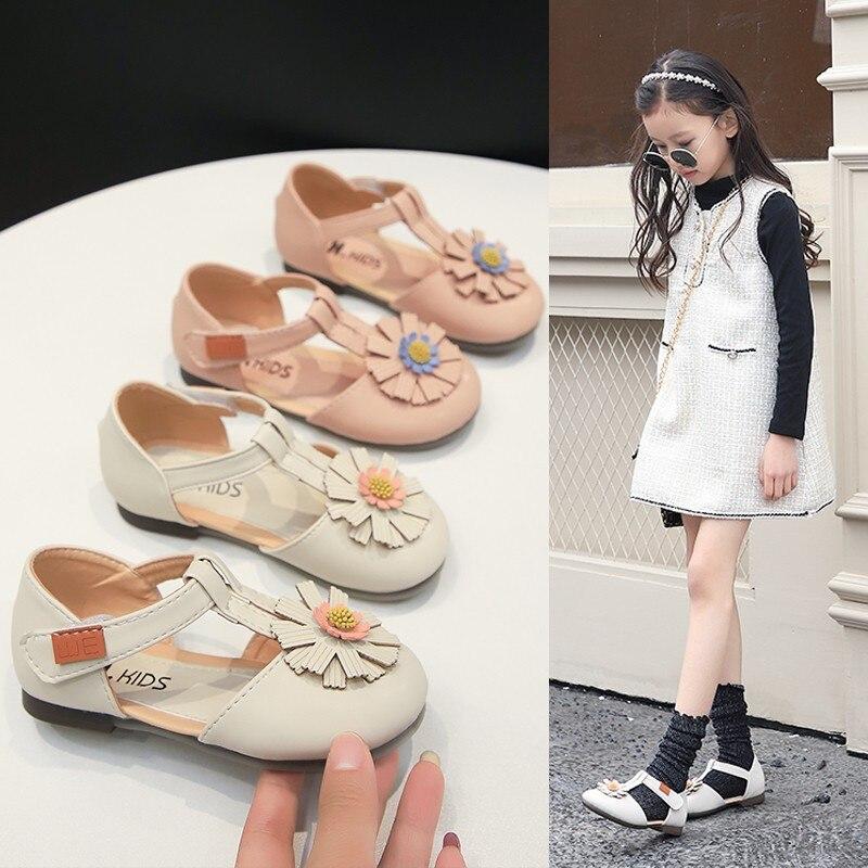Baby Summer New Flowers Girls Sandals Single Shoes Non-slip Hook Loop Sweet Little Girl Shoes Casual Children Footwear D02083