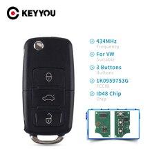 KEYYOU Car ID48 Chip 434 Mhz Remote Key For VW Volkswagen Golf Passat Polo Jetta Touran Bora Sharan 1K0 959 753 G 2004 - 2010