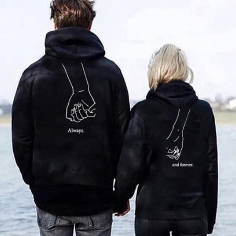 BKLD Men Women Hand In Hand Couple Black Hoodies Sweatshirts Autumn Winter Lover's Always And Forever Letters Printing Pullovers