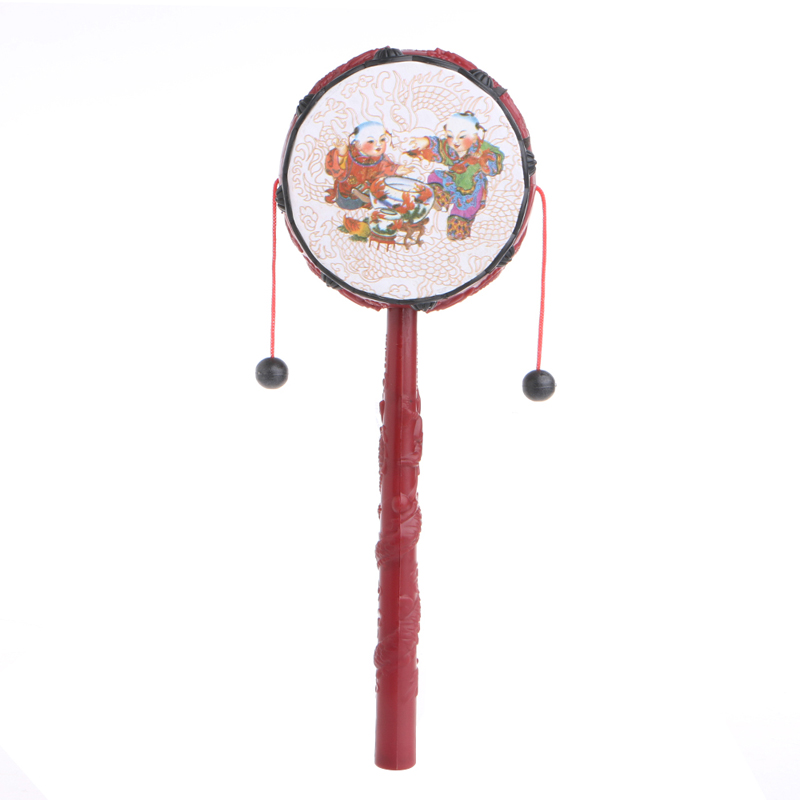 Kids Cartoon Hand Bell Plastic Chinese Traditional Rattle Drum Spin Toy For Baby