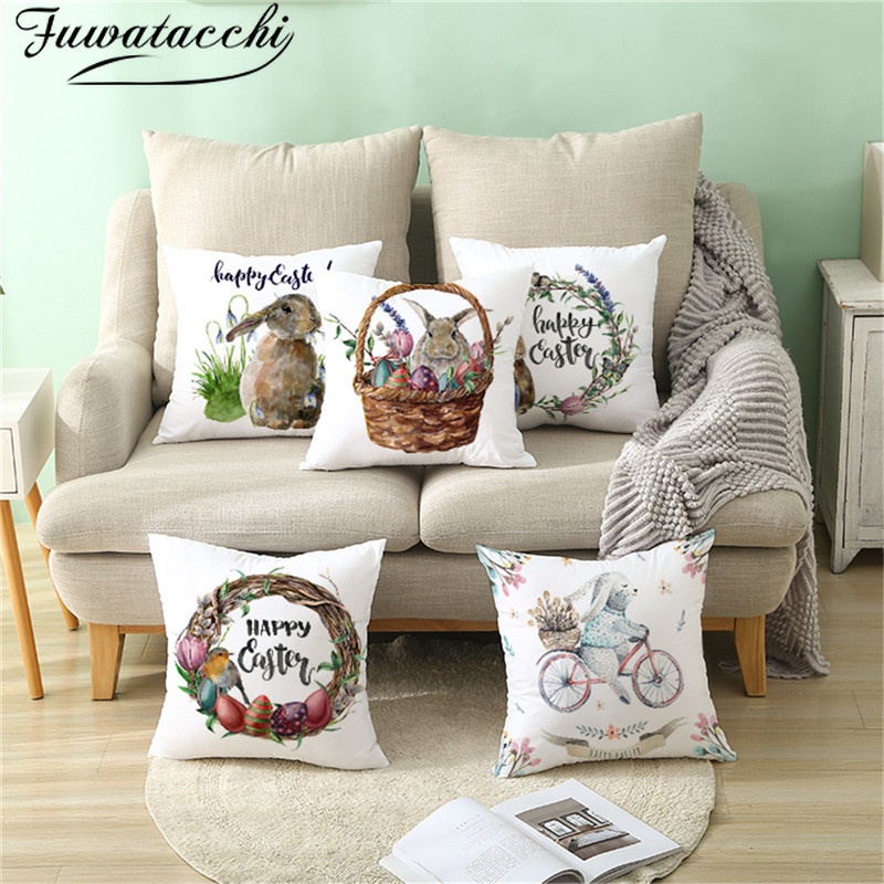 Fuwatacchi Happy Easter Words Pillows Cover Cute Rabbit Cushion Cover Wreath Printed Throw Pillowcase For Home Sofa Decorations