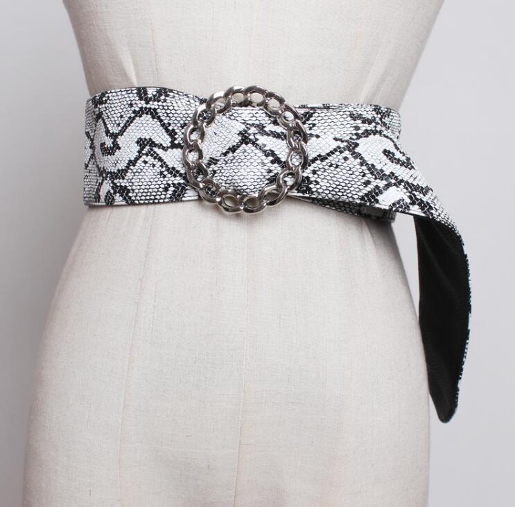 Women's Runway Fashion Snake Skin Print Pu Leather Cummerbunds Female Dress Corsets Waistband Belts Decoration Wide Belt R1823