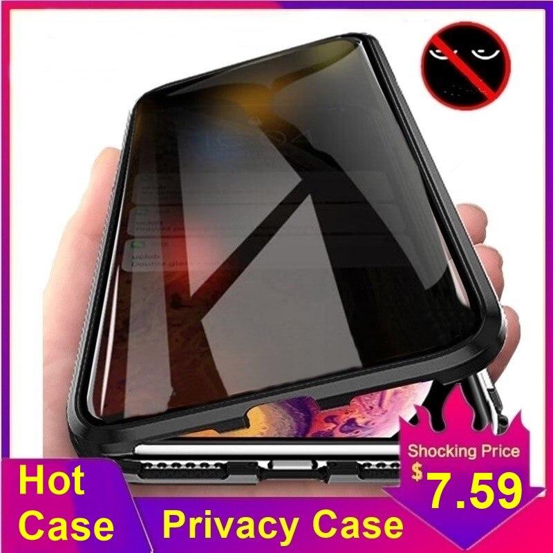 Tongdaytech Privatsphäre Magnetische Fall Für Iphone XS XR X 6s 6 7 8 Plus 11 Pro MAX Magnet Metall gehärtetem Glas Abdeckung 360 Funda Fällen