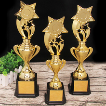 цена на 2020 Customize Champion Star Trophy Golden Plated Team Sport Competition Craft Souvenir Trophy Cup Awards 33/36/39/41cm Trophies
