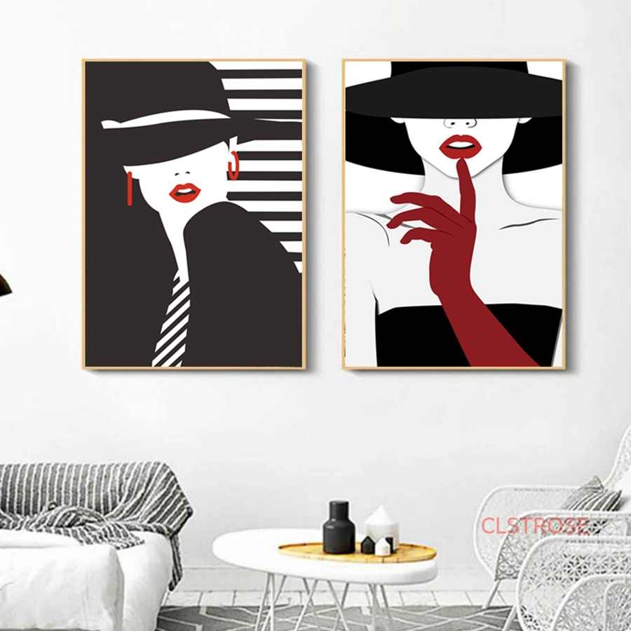 Nordic Retro Poster Abstract Black And White Bowler Hat Modern Red Lip Girls Painting Home Decoration Wall Art Canvas Painting