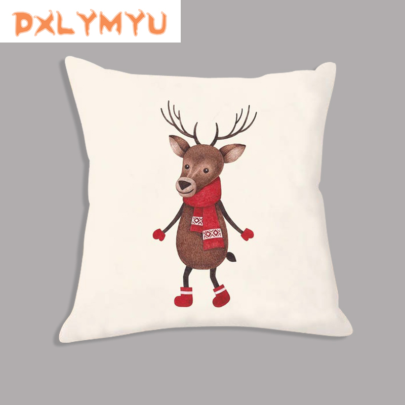 Xmas Cartoon Animal In Scarf Printed Cushion Christmas Pillow Soft Pillowcase Decorative Cushion For Sofa Seat Home Decor