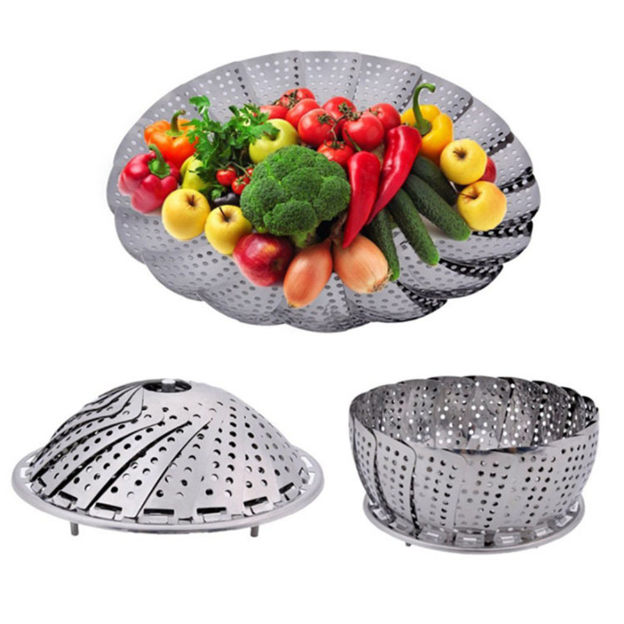 60 Pcs Vegetable Steamer Basket Stainless Steel Food Basket Folding Mesh Vegetable Vapor Cooker Kitchen Tool Wholesale
