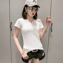 Baru Fashion Wanita Musim Panas Lengan Pendek Warna Solid T-shirt Seksi Off Bahu Slim Fit Kasual Atasan Katun Bernapas T-shirt(China)