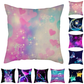 Nanacoba Purple Fantasy Starry Sky Throw Pillow Valentine's Day Home Decoration Pillowcase Sofa Bed Car Cushion Covers 45*45cm image