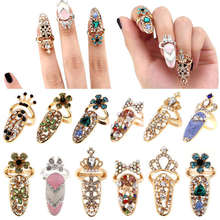 1 шт, женское модное Золотое кольцо для ногтей с бантом, украшение для ногтей, Очаровательная корона, цветок, Кристальные кольца для ногтей, для ногтей, сделай сам