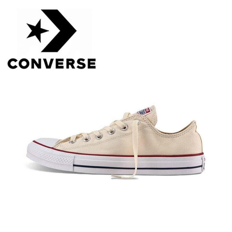 Original autêntico converse all star clássico unisex skateboarding sapatos de baixo-topo rendas-up durável calçados de lona amarelo 1z632