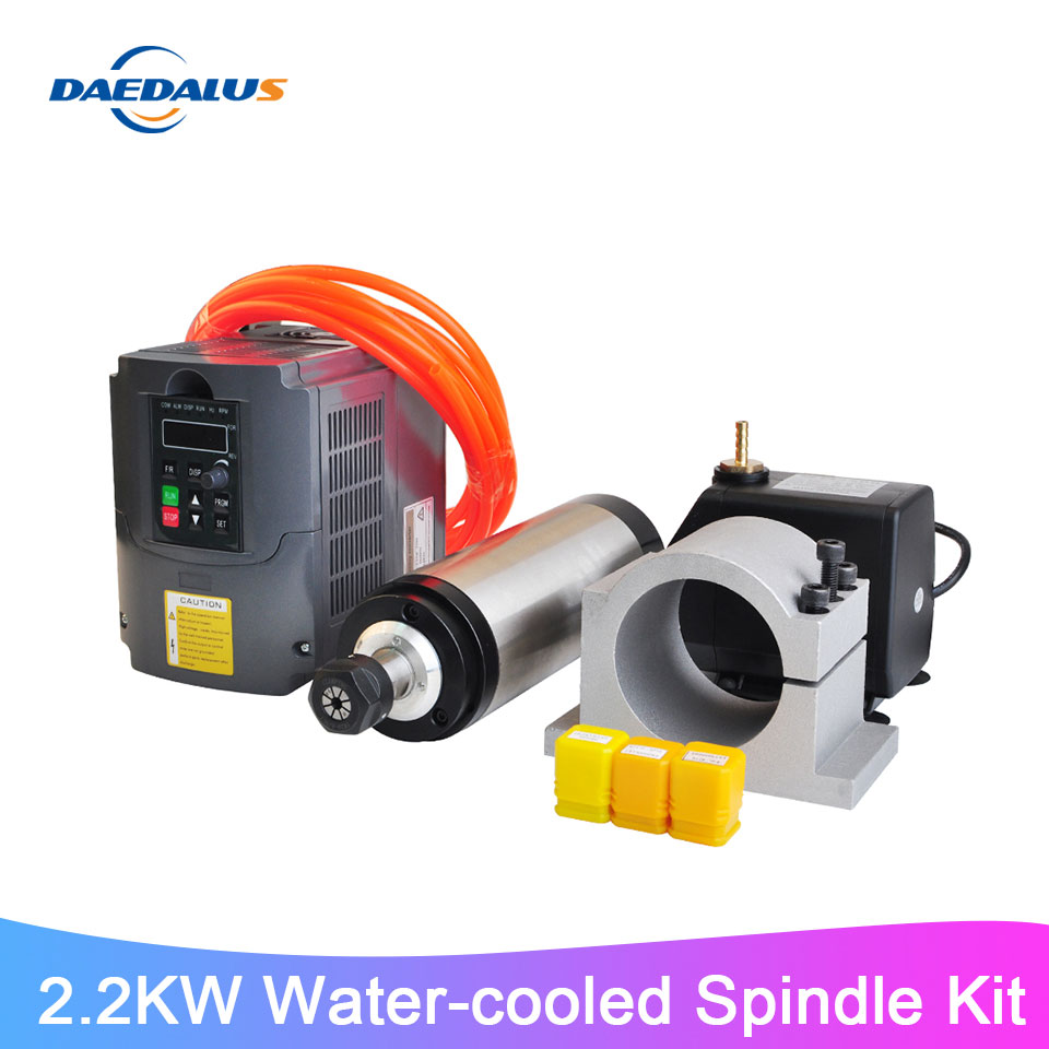CNC Spindle Kit <font><b>2.2KW</b></font> Water Cooled Spindle Motor 110V 220V <font><b>VFD</b></font> <font><b>Inverter</b></font> Converter 80MM Clamp 75W Water Pump 3pcs ER20 Collets image