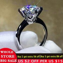 LMNZB Pure Solid 18K biały/żółty/pierścionek z różowego złota pasjans 2.0ct Lab diamentowe wesele zespół srebrny 925 pierścień prezent dla kobiet R16789
