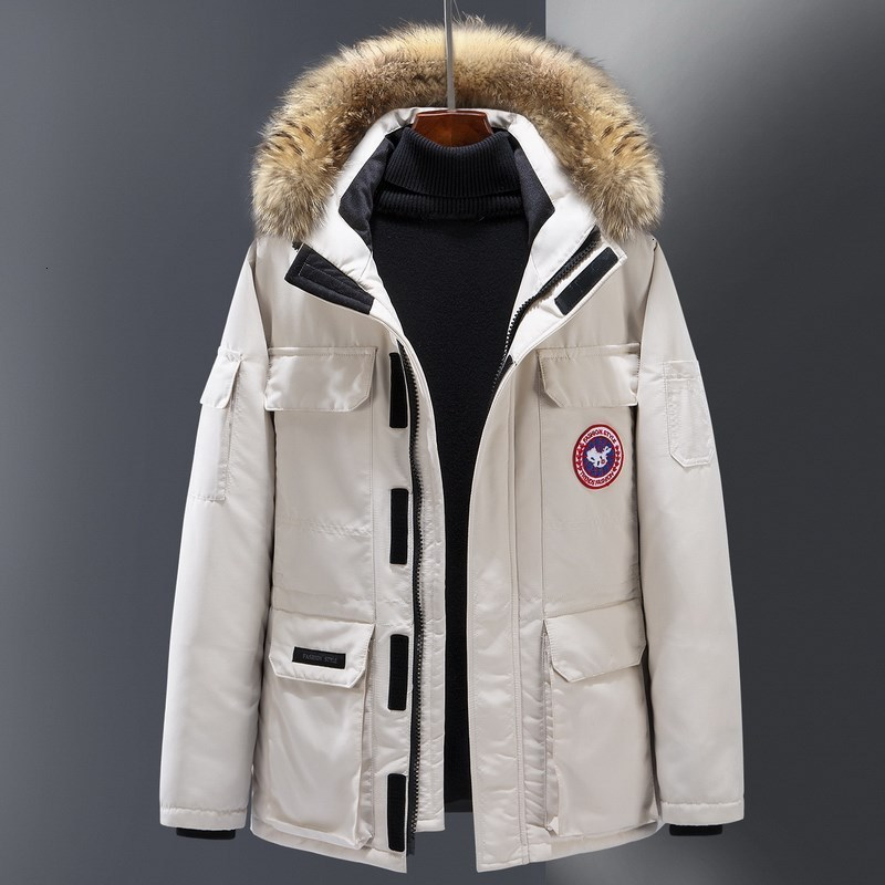 Brand Men's White Duck Down Jacket Men's Wind Workwear Warm Fur Hooded Overcoat Snow Down Jacket Outdoor Warm Winter Coat Tide