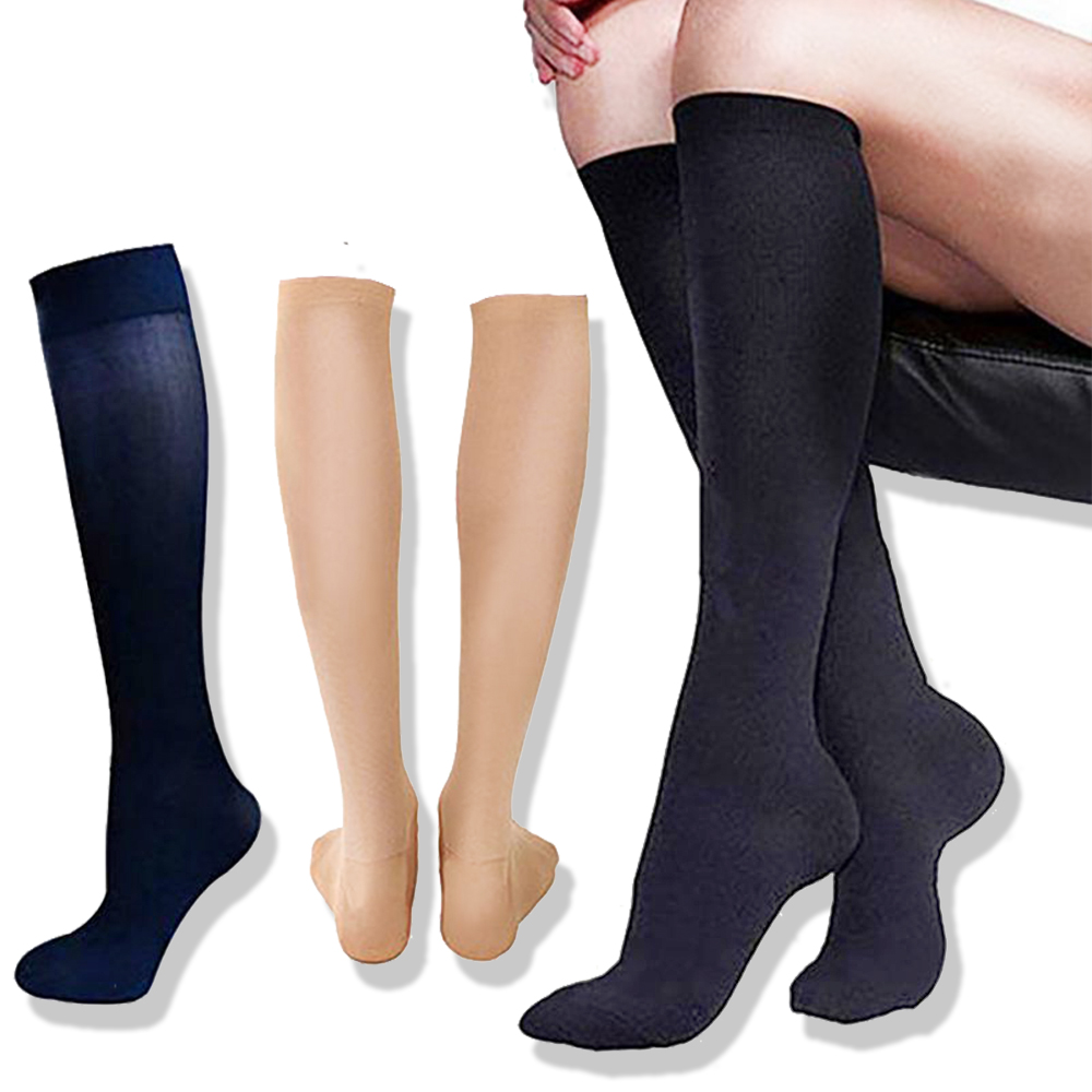 3 Pairs Stockings Pressure Compression Nylon Varicose Vein Unisex Knee High Leg Support Stretch Stocking  Relief Pain Nylon