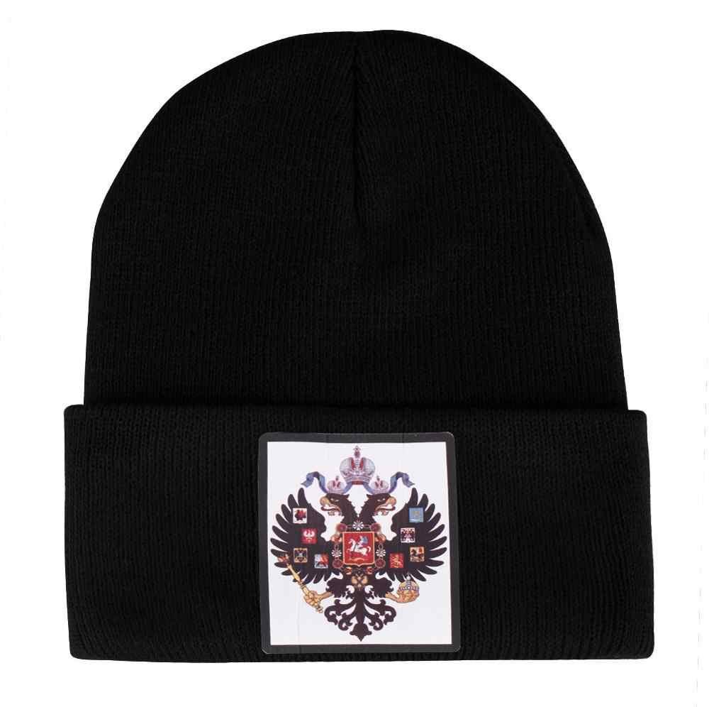 Antigo império russo bandeira malha chapéus dos homens mulheres inverno fino quente beanies queda curto menino menina bonnet preto duplo águia skullies