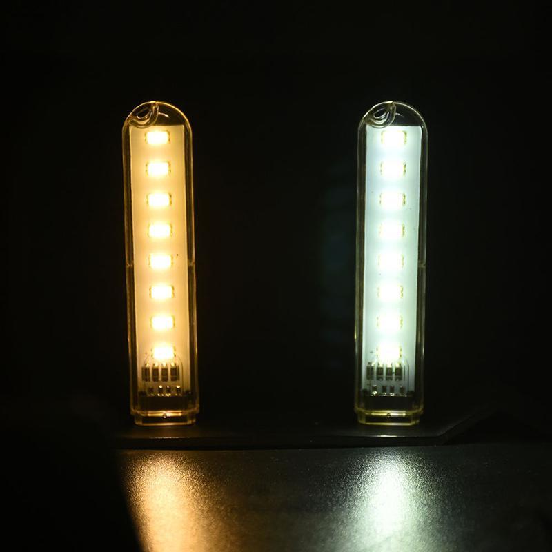 1pcs Mini 8 LEDs USB 5V LED Night Light Desk Book Reading Lamp Camping Bulb Children's Gifts For Mobile Charger Laptops