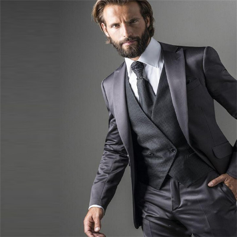 Fashionable Men Formal Suit Blazer Set Slim Fitted Groom Wedding Party Tuxedos Groomsman Wear Customized (Jacket+Vest+Pants)