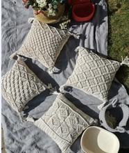 45x45cm 100% Cotton Macrame Handmade Cotton Thread Pillow Covers Geometry Bohemia Cushion Covers Home Decor Custom Size
