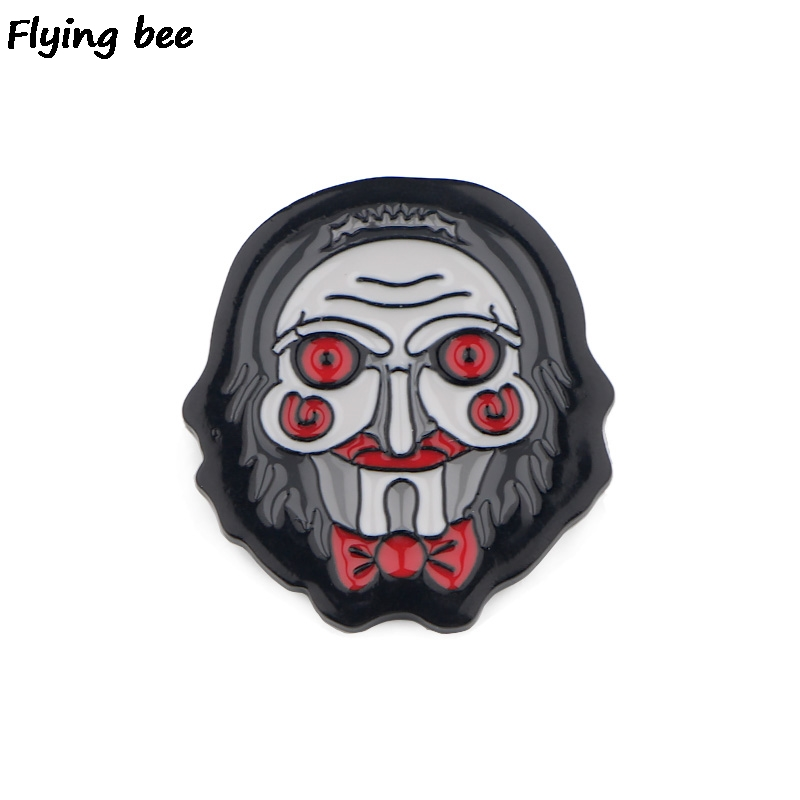 Flyingbee Billy The Puppet Horror Pin Metal Brooch And Pin Women And Men Enamel Pins Badges Lapel Pin Badge For Clothes X0509