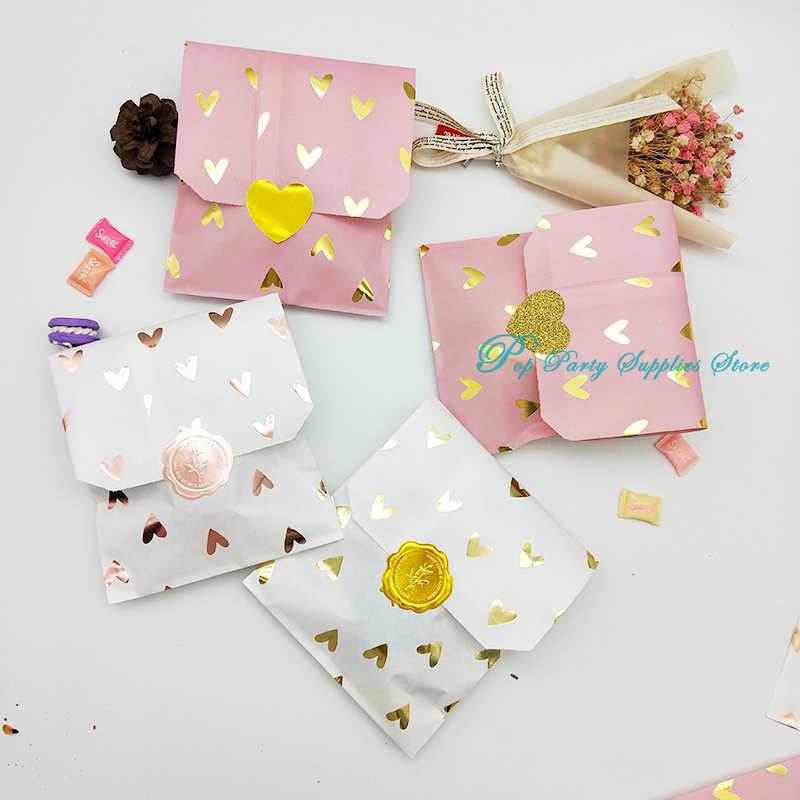 Saco de papel rosé doce presente, 25 pçs/saco, papel, alumínio, presente, casamento, noiva, chá de bebê, casamento, aniversário, saco de lembrancinha